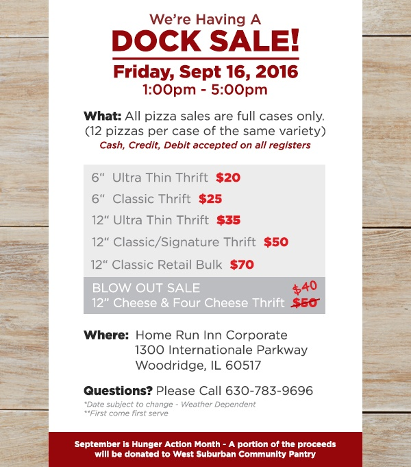 Support Hunger Month at the Home Run Inn Dock Sale - Featured Image